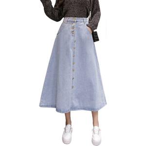 2019 Neue Frühling Sommer frauen Denim Röcke Blau Hohe Taille Rock Damen Herbst Mode Frau Eine Linie Jeans Rock Mit knopf