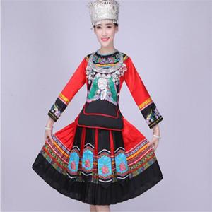 Marka Miao Milliyet Dans Kostüm Kadın Performans Giyim Çin Halk Azınlık Kadın Dans Suit Dong Yao Kostüm Giyim