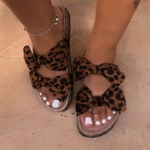 Leopard 2020 New Summer Women Sandals Bow Flat Shoes Ladies Beach Shoes Slipper Outdoor Wild Fashion Student Home Casual Slipper