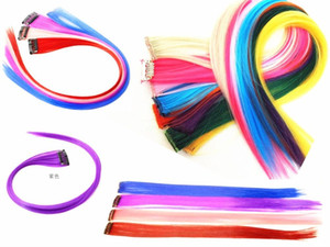 New Straight Colored Colorful Clip-in Clip On In Hair Extension womens random color Purple Red hot sale
