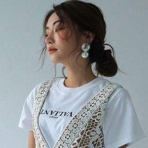 Dangle New Korea Retro Big Pearl Earrings Gentle Vintage Pearl Temperament Earrings Simple Personality Pendients For Women Jewelry