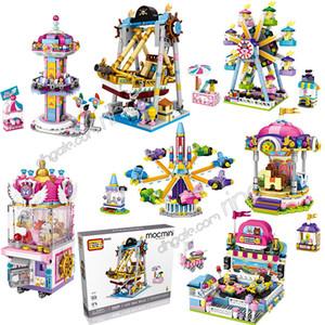 선물을 조립 작은 입자 빌딩 블록 아이 장난감 해적선 관람차 로타리 항공기 인형 기계 놀이 공원 LOZ 퍼즐