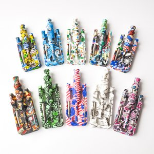 Free Shipping Printing Silicone Nectar Collector with 14mm Joint gr2 Titanium nail Silicone Oil Rig Bongs Good Quality