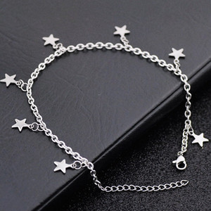 12pcs LOT Fashion star charms Stainless steel anklets bracelets on Foot Ankle chain Bracelets charm jewelry Gift SJL01