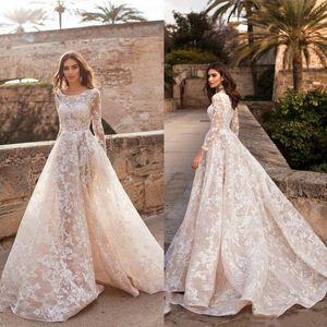 Naviblue 2019 A Line Wedding Dresses Scoop Neck Long Sleeve Lace Bridal Gowns abiti da sposa Custom Illusion Plus Size Wedding Dress