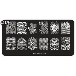 1pcs Nail Stamping Plaques Fleur Design Stamping plaque Nail Art Image plaque Stamp Stamp Plaques Modèle de manucure TX19