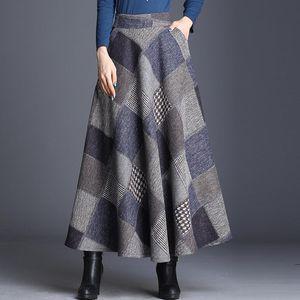 Mãe Plus Size manta elegante saia Mulheres elástico na cintura longo de lã saia Maxi Feminino A-Line Quente Outono Inverno guarda-chuva