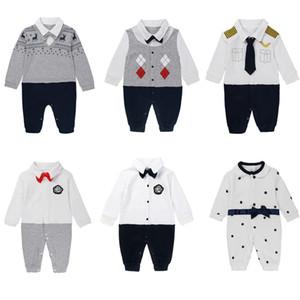 8 Stili Abbigliamento per bambini Abbigliamento Baby Boy Gentleman Pagliaccetti Newborn Neonato Minia a maniche lunghe Designer Designer Romper Brand Bambino Vestiti M280