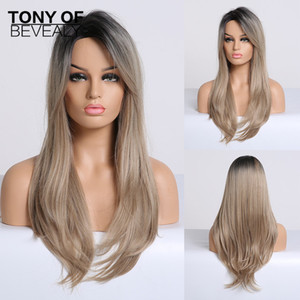 Synthetic None-Lace Wigs Synthetic Wigs Long Straight Black to Blonde Ombre Hair Side Part With Bangs For Women Afo