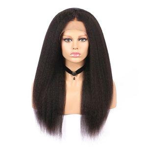 Полный шнурок человеческих волос Парики Kinky Straight отбеленные узлы парик фронта Свободная часть Virgin малазийский Glueless итальянский яки Lace Pre щипковых Hairline