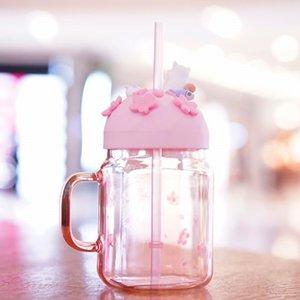 جديد ستاربكس ساكورا القط الوردي الزجاج سترو زهر كوب خارج القهوة ميسون كأس الرياضة مياه ل باب الكرز الباردة مرافقة iteun