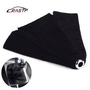 Manual Gear RASTP-Car Collier Shift en cuir suédé Handbrake Gaiter Boot Cover Gear Shift Boot étanche à la poussière RS-SFN002 noir