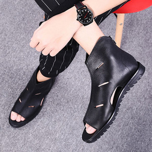 Vendita calda-Estate Stivali casual Scarpe da uomo di alta qualità Open Toe in vera pelle Runway Black Sandali giapponesi Luxury Italian 2018
