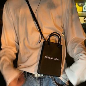 TS Lettera cellulare Logo Stampa del messaggero del sacchetto delle donne degli uomini Ladie di lusso Designer Handbag Purses Shoulder Bag Black GrayTSYSBB329 Bianco