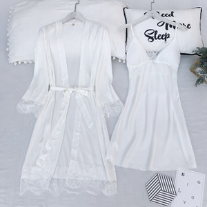 Frauen-feste Royan Silk Nachtwäsche Damen Satin Pyjama Unterwäsche Nachtwäsche Klassische Zweiteilige Girls Home Kleidung 5 Farben