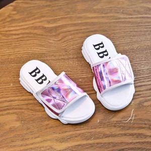 Girls Fashion Slippers Children Soft Bottom Slippers Kids Solid Color Patent Leather Slipper 2020 Summer New Style Outwear Sandals New