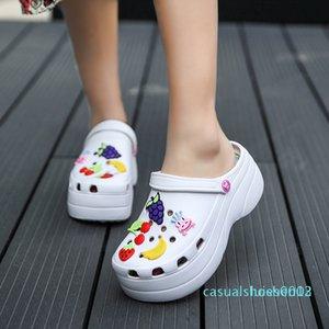 Linda mujeres de las sandalias aumentar la altura de 6 cm Zapatos de plataforma sandalias zuecos mulas Mujeres Zapatillas Sandales L05