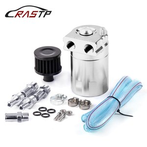 RASTP-Aluminum 0.3L Oil Catch Can Kit Air Oil Separator Tank Cylinder Baffled Reservoir With Filter RS-OCC009