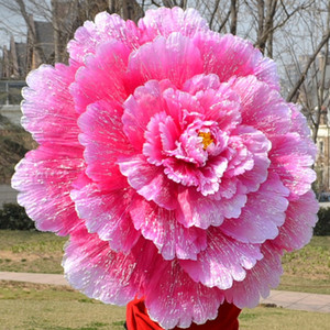 Paraguas de baile Rendimiento de danza de peonía Paraguas de flores Chino Capa de tela de múltiples capas Paraguas Atrezzo KKA7135