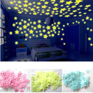 3D Star Moon Fluorescente Luminoso Etiqueta de La Pared Resplandor en la oscuridad Estrellas Respetuoso del medio ambiente PVC decorativos Tatuajes de pared Niños Habitaciones de bebé decoración