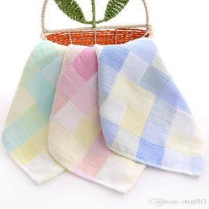 Plaid cotton unisex gauze color small towel handkerchief double baby child saliva towel newborn hand towel handkerchief 2 Pack