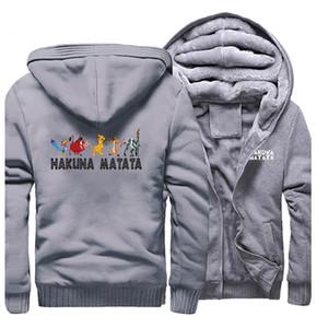 Hakuna Matata Imprimir Grosso Hoodie Simba camisola Moda Marca Hoodies dos desenhos animados Streetwear O Rei Leão Homens Inverno agasalho