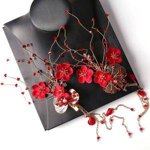 Clipes FORSEVEN longa borla flor de cristal vermelho Grampos Mulheres menina Cosplay Hanfu vestido da noiva Noiva casamento Headwear Jóias