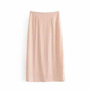 Cotton-Blend-Printed rosa Röcke Frauen Floral beiläufige Strand Female Midi-Rock 2020 Koreanische Sommer Mode schlanke Büro-Dame Outfits