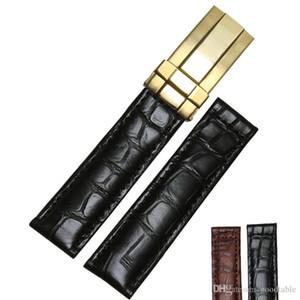 19mm 20mm Bruin Echt Alligator Lederen Horlogebandje Band zilver goud Rose goldstainless staal Vouwsluiting