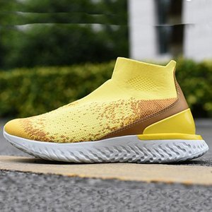 2020 React Knit Breathable Mid Top Sock Boots Rise React Knit High Elastic Tech Bubble Cushioning Casual Shoes 36-45 Mens Sneakers