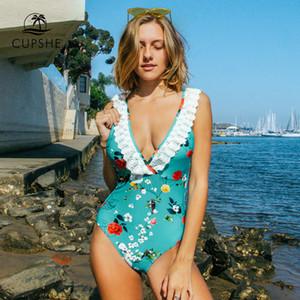 Mavi Çiçek Dantel Trim Derin V yaka Tek Parça Mayo Seksi yastıklı Kadınlar parça bikini 2020 Plaj Yıkanma Suits Mayo