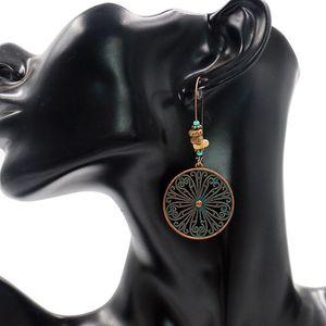 Vintage Round Butterfly Alloy Earrings Creative Flower Hollow Out Charm Earring Women Ear Hook Hoop Eardrop Jewelry Party Gifts