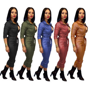 Women faux leather jumpsuit romper playsuit long sleeve jumpsuits fashion comfortable bodycon jumpsuit womens clothing clubwear klw2647