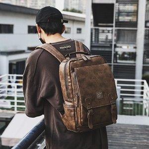 منفذ العلامة التجارية الرجال الرجال حقيبة جلدية الرجعية الظهر بسيطة حقائب الطلاب جلدية كبيرة حقائب الكمبيوتر القدرة السفر على ظهره وقت الفراغ