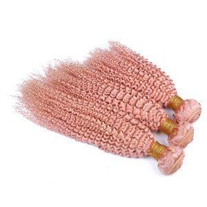 Doppeltes wefted Pink Afro Verworrene Lockige Brasilianische Jungfrau-Haarverlängerung 300g Reine Farbe Rosa Verworrene Lockige Menschenhaar-Spinnereien