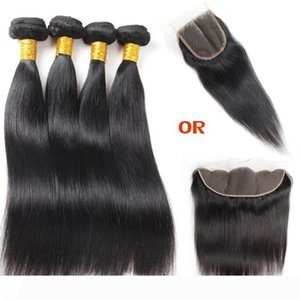 A 10A Straight Human Hair 4 Bundles with Closure 100% Unprocessed Brazilian Virgin Human Hair Bundles Brazilian Hair Extensions and Fro