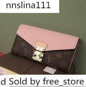61279 Pallas Lady S-lock Wallet M Pink Oxidized Leather Clutches Evening Long Chain Wallets Compact Purse