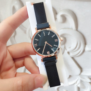 High quality Fashion luxury watches for women watches rose gold Stainless Steel black Bracelet female dress clock Magnet buckle Wristwatches