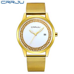 CRRJU супер тонкий золотой сетки нержавеющая сталь часы для женщин топ бренд роскошные повседневные часы женщина наручные часы Леди Relogio Feminino