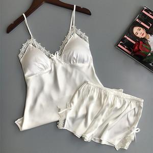 Sexy Lingerie Bayan Saten Ipek Pijama Yaz Spagetti Kayışı Pijama Dantel Pijama Pijama Kadın Ev Cothes Bornoz