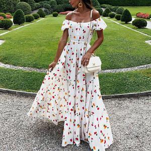 Yeni kadın elbise seksi straplez tüp üst elbiseler uzun etekler baskılı dresse çiçek dress casual seyahat dresse podyum parti dress # 2258
