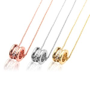 New Arrive Fashion Lady 316L Titanium steel 18K Plated Gold Necklaces With Lettering Hollow Out Water Ripple Diamond Pendant 3 Color