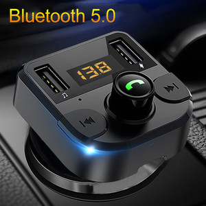 Bluetooth 5.0 Fm Transmitter Car Kit MP3 Modulator Car Charger Double USB With LED Lattice screen EQ Mode