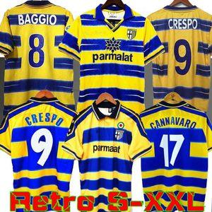 1998 1999 2000 Parma retro del fútbol casero Jersey de distancia 98 99 00 FUSOR BAGGIO CRESPO camisa ORTEGA CANNAVARO Fútbol BUFFON THURAM Futbol camisa