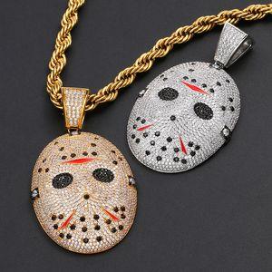 Hip Hop de haute qualité Micro Zircon marqueté solide Chainsaw âme masque collier pendentif Glacé pleine CZ Mens Collier