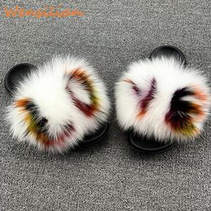 Енот Женщина Пушистого Fur Слайды Крытая Главная Тапочки Женщина Пушистая Вьетнамка женского Fur Real Домашней обуви Женских сандалии 2020