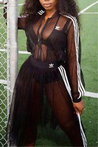Женские два комплекта спортивные костюмы дизайнер полосатые кружевные наряды беговая сетка с длинными рукавами платье костюмы спортивная одежда повседневная женская одежда klw2237