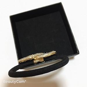 Moda Cristal liga de diamante preto anel de cabelo C faixa de borracha acessórios para o cabelo de luxo para a coleção Ladys Item Moda laço de cabelo presente de festa