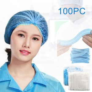 100pcs Non-woven Disposable Shower Caps Pleated Anti Dust Hat Women Men Bath Caps For Spa Hair Salon Beauty Accessories #T2G
