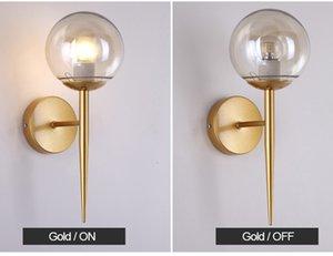 Lámparas de pared modernas nórdicas Apliques, negro / dorado, luz nocturna decorativa para el camino de la escalera, dormitorio, lámpara de noche E27